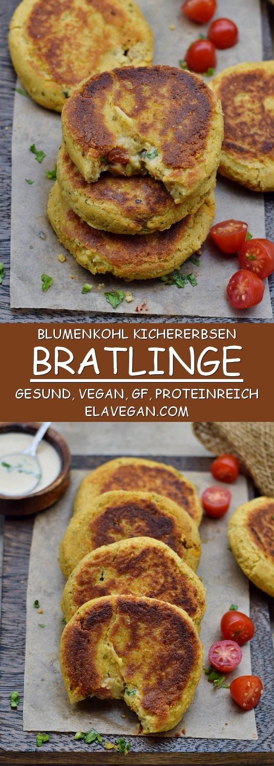 blumenkohl kichererbsen vegane bratlinge pinterest collage