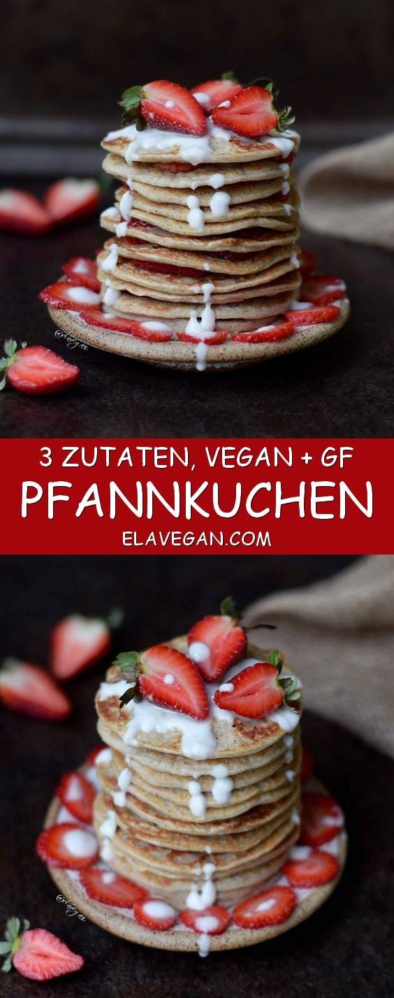 Pfannkuchen vegan und glutenfrei - gesundes Rezept aus 3 Zutaten mit wenig Kalorien und Fett bei Pinterest