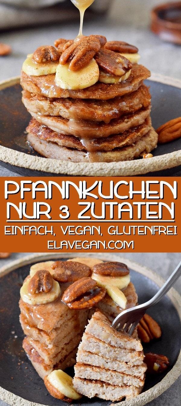 pinterest collage von Pfannkuchen vegan mit 3 zutaten