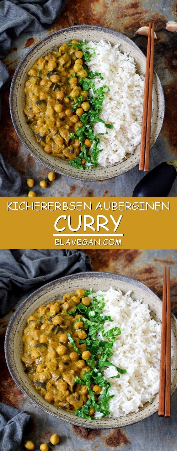 Kichererbsen Curry mit Aubergine und Spinat - Pinterest