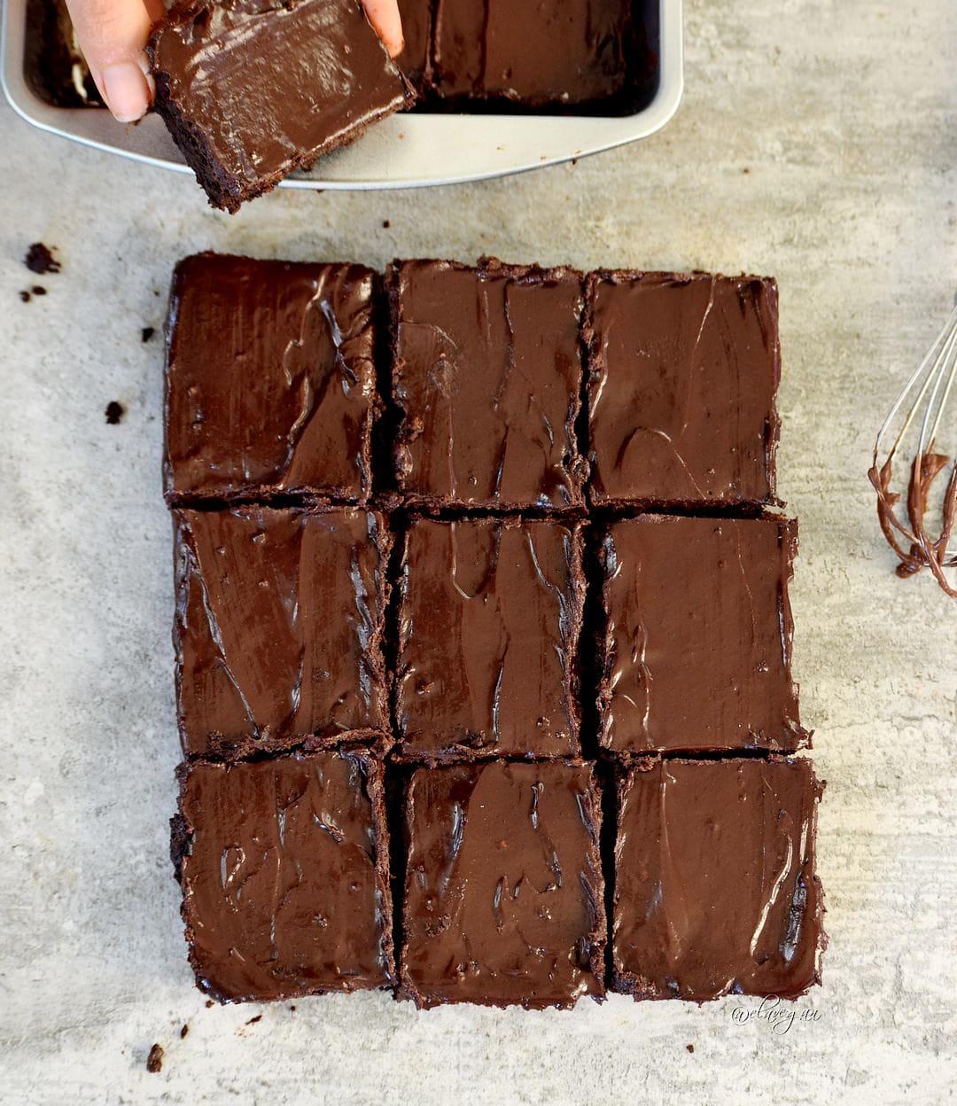 9 brownies mit veganer schokoglasur