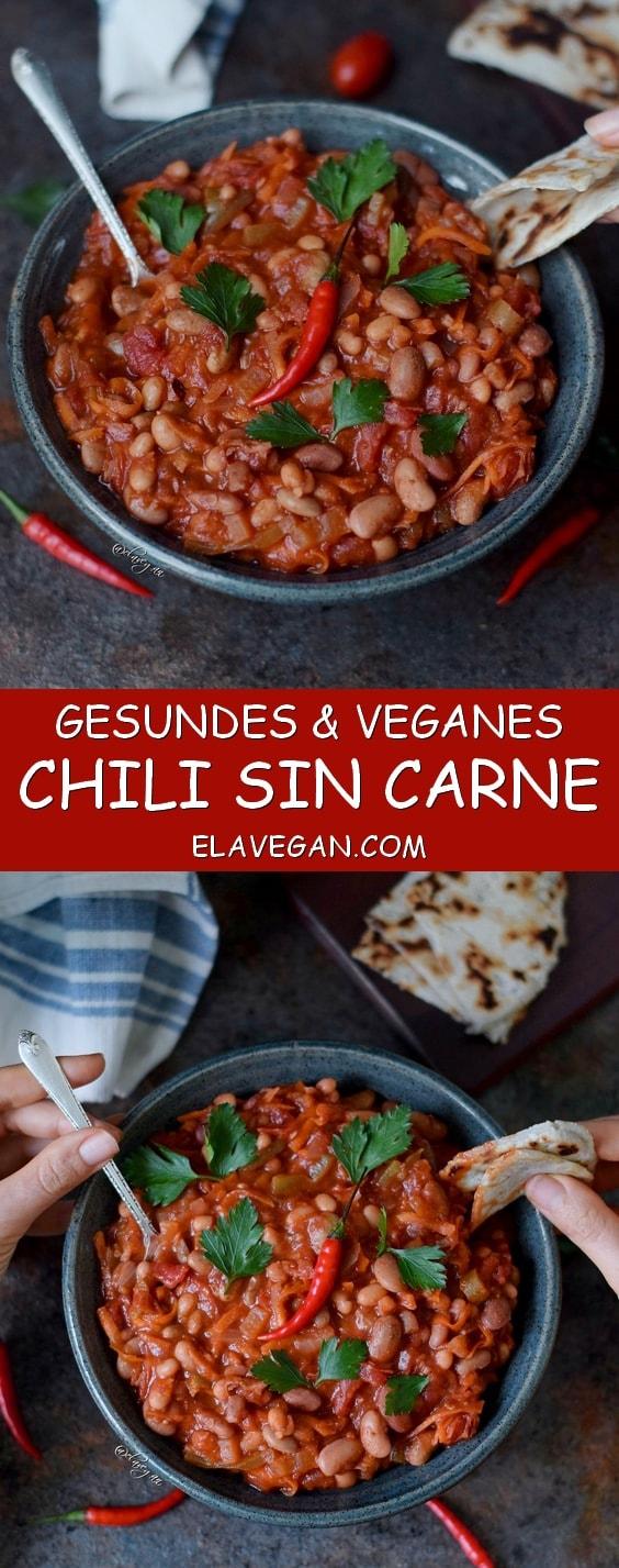 Chili sin carne, vegan und lecker mit Bohnen - das Rezept ist ohne Fleisch, fettarm, glutenfrei, einfach zu machen, perfekt zum Mittagessen oder Abendessen - Pinterest