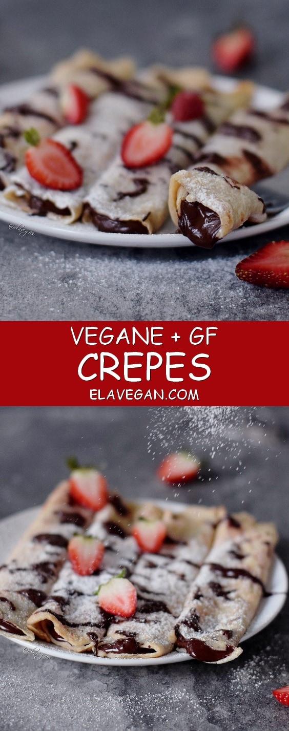 Crepes vegan, glutenfrei und fettarm gefüllt mit einer Schokoladencreme und Erdbeeren - einfaches Pfannkuchen Rezept auf Pinterest