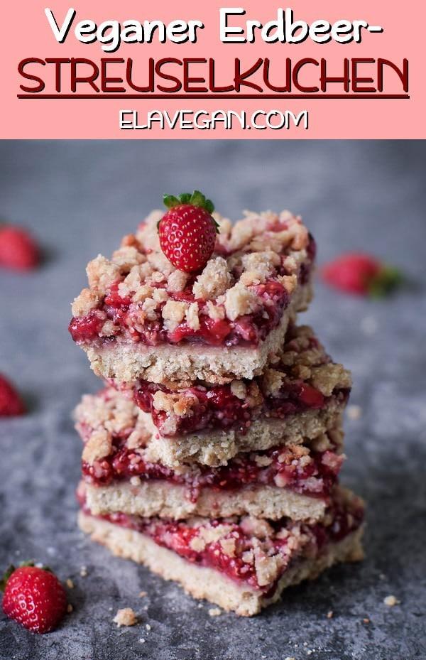 Veganer Erdbeer-Streuselkuchen mit Mini Erdbeeren glutenfrei