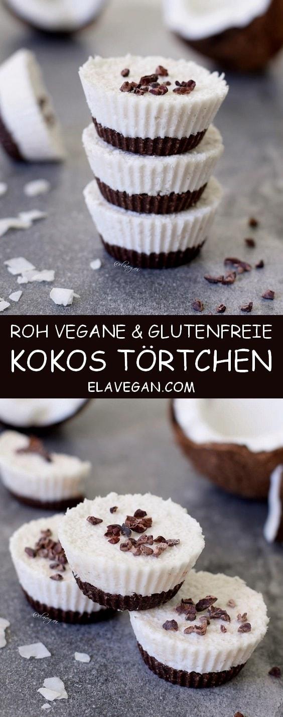 Kokos Törtchen, roh vegan und glutenfrei. Dieses einfache Rezept erinnert ein wenig an Bounty