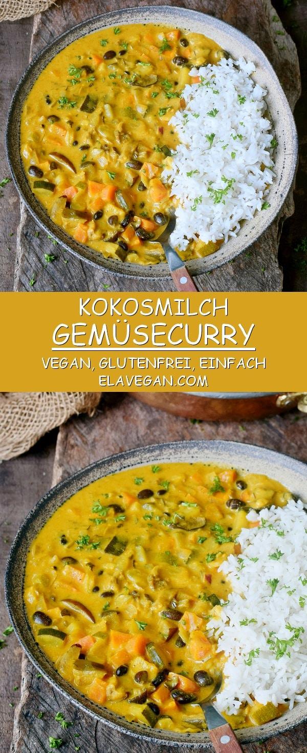 kokosmilch gemüsecurry mit ananas vegan glutenfrei einfach pinterest collage