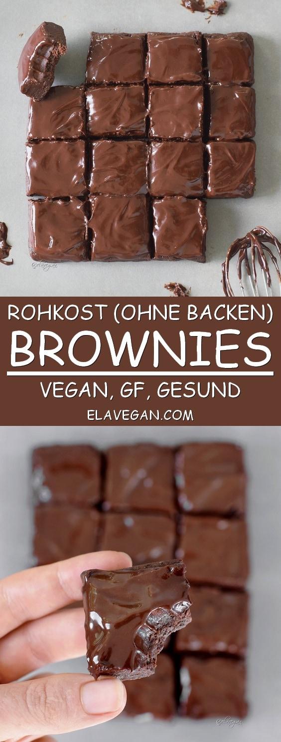 Rohkost Brownies mit veganer Schokoladenglasur! Glutenfreies Rezept mit nur 6 Zutaten!