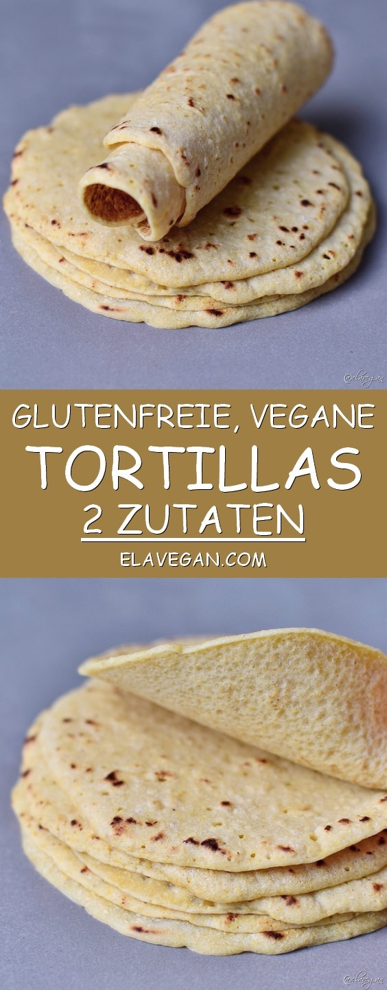 Pinterest Collage von glutenfreien veganen Tortillas