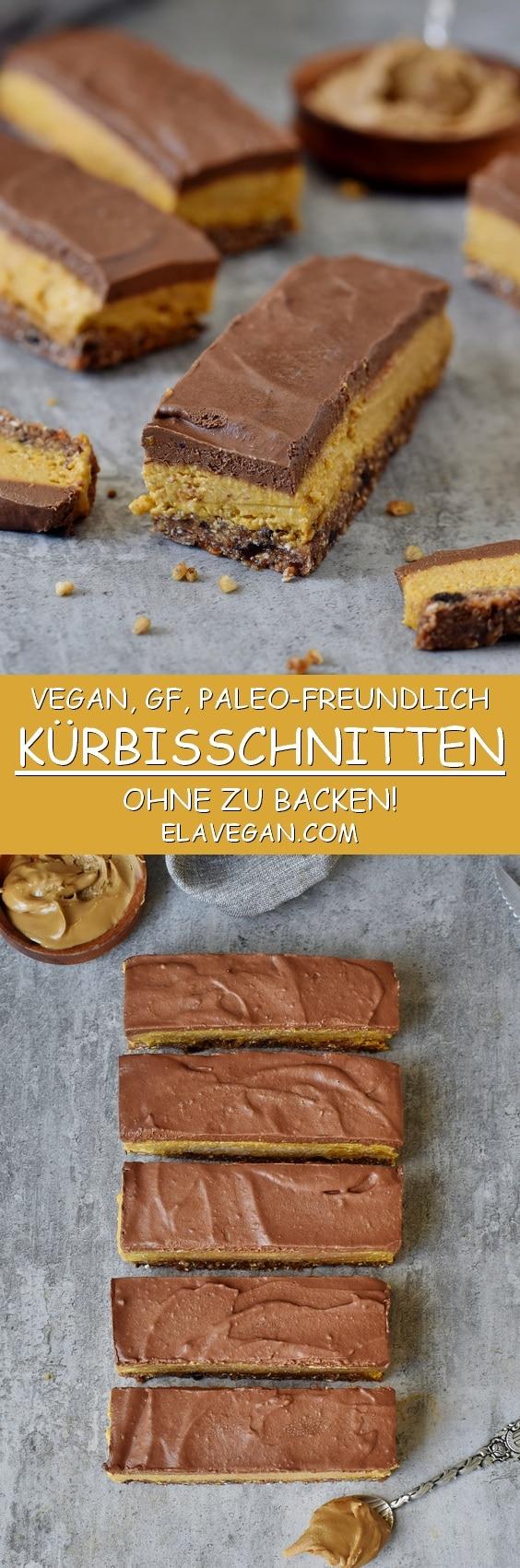 Gesunde vegane Kürbisschnitten mit einer glutenfreien Schokoladenglasur (paleo)