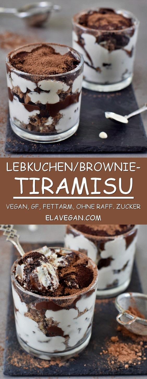 Lebkuchen Tiramisu im Glas. Das Rezept ist vegan, glutenfrei, frei von raffiniertem Zucker, fettarm, gesund und lecker. Das Tiramisu kann nussfrei gemacht werden und mit Brownies geschichtet werden