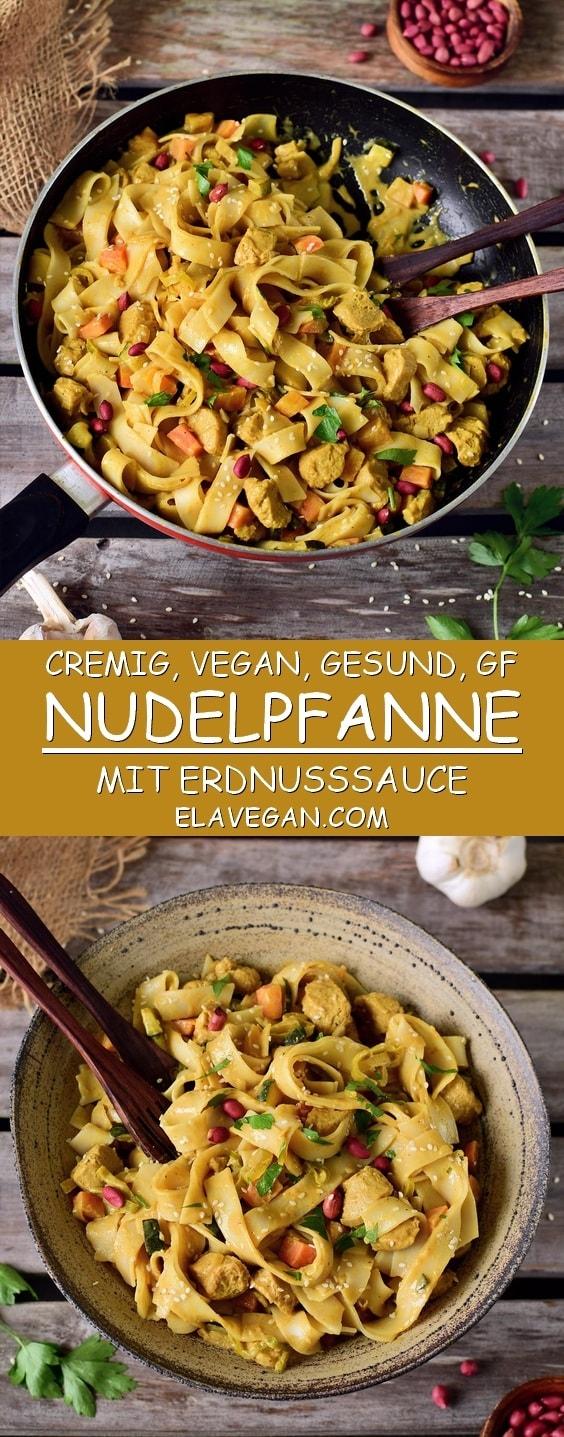 Vegane Nudelpfanne mit Erdnusssauce. Dieses Gericht ist pflanzlich, glutenfrei und einfach zu machen. Eignet sich perfekt als Mittagessen, Abendessen oder als Mahlzeit zum Mitnehmen für die Arbeit/Schule