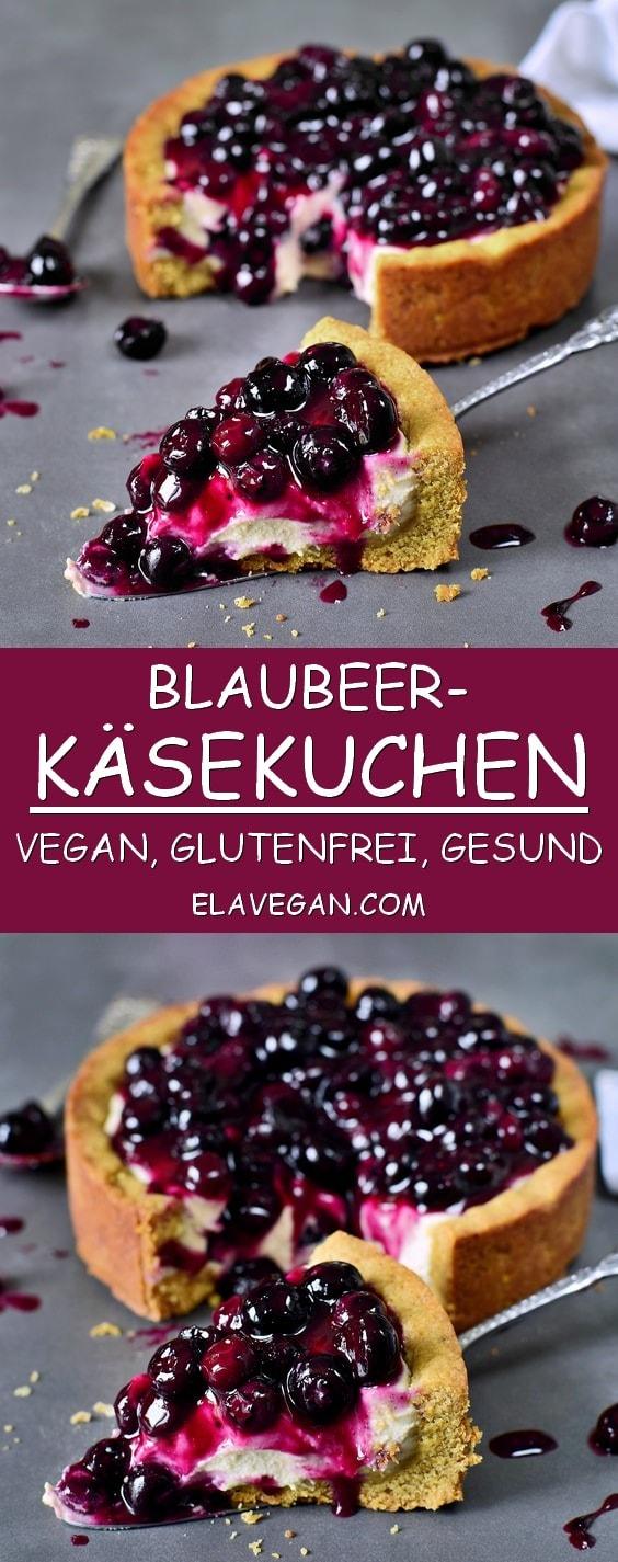 Veganer Blaubeerkuchen mit Käsekuchen Creme