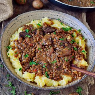 Veganer Linseneintopf mit Kartoffelpüree in Schüssel