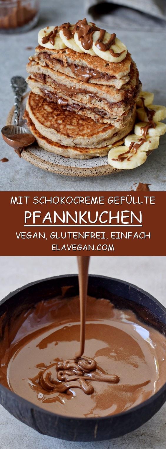 mit schokocreme gefüllte pfannkuchen vegan glutenfrei einfaches rezept pinterest