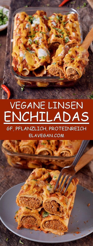 Glutenfreie vegane Enchiladas aus Linsen