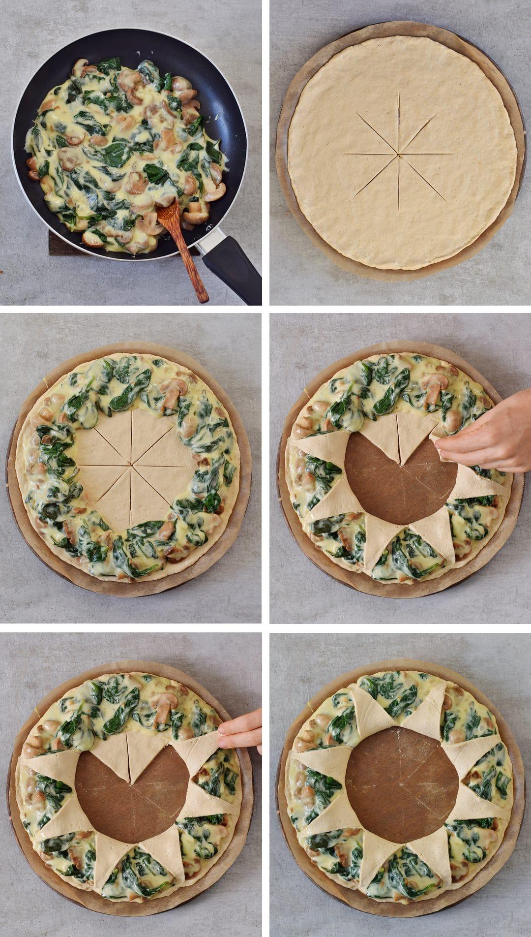 Herstellung Pizzakranz mit Spinat Pilzen und veganem Käse