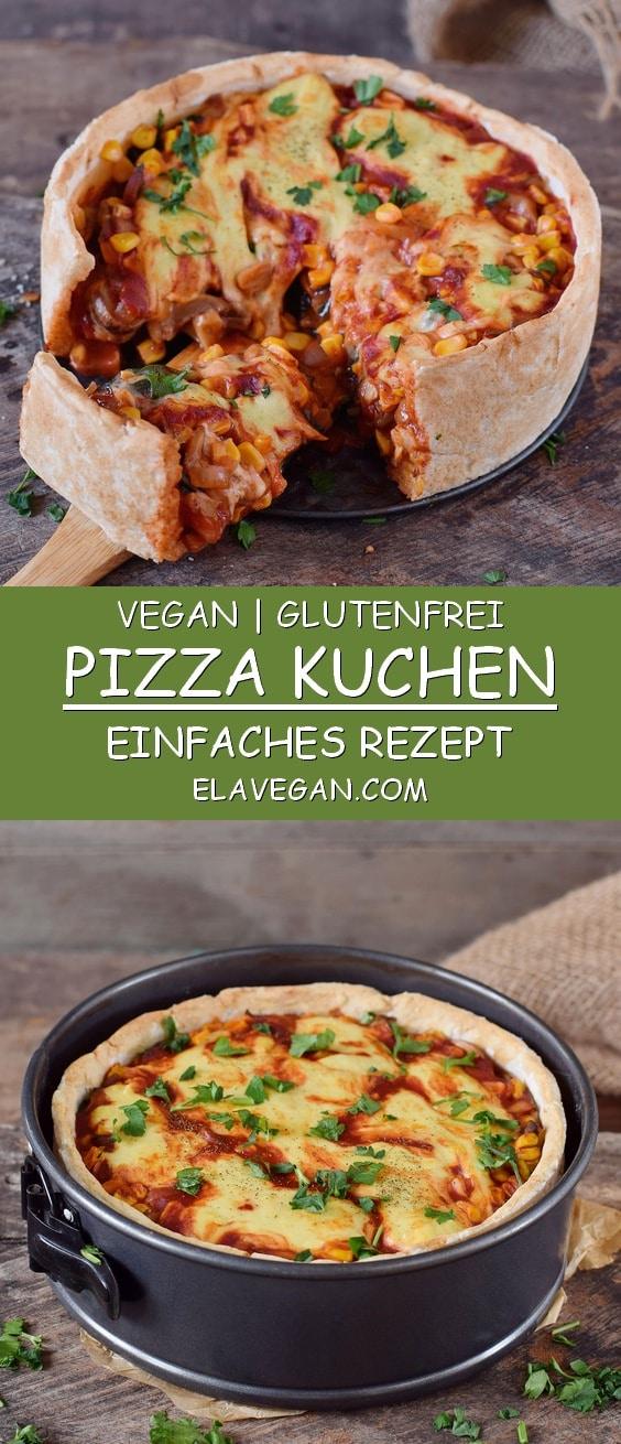Veganer Pizza Kuchen in Springform Pinterest Collage