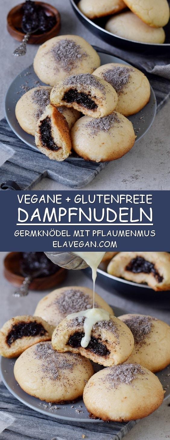 vegane Dampfnudeln mit Pflaumenmus, Mohn, Vanillesoße Pinterest Collage
