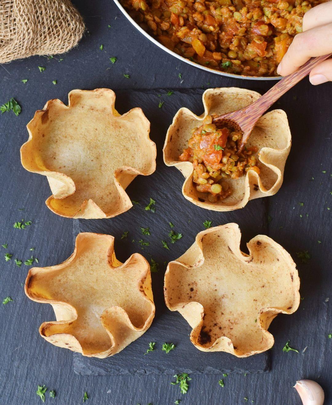 4 selbstgemachte glutenfreie Tortilla Schalen