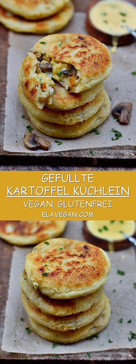Pinterest Collage gefüllte Kartoffelküchlein mit Pilzen, Paprika, Zucchini und veganem Käse
