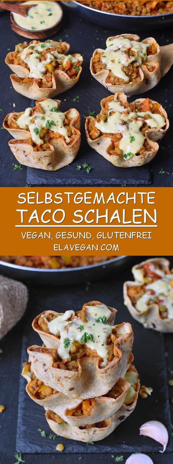 Selbstgemachte glutenfreie Tortilla Schalen mit Gemüse Linsen und veganem Käse