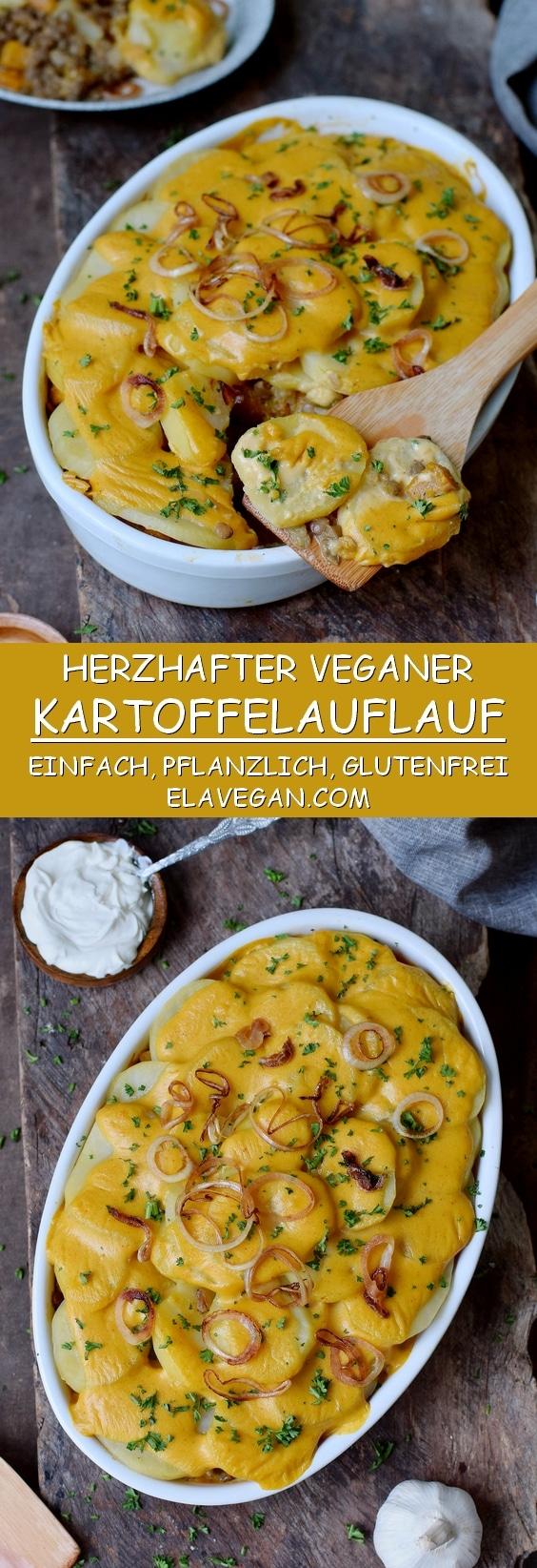 Herzhafter veganer Kartoffelauflauf in einer Auflaufform glutenfreies Rezept