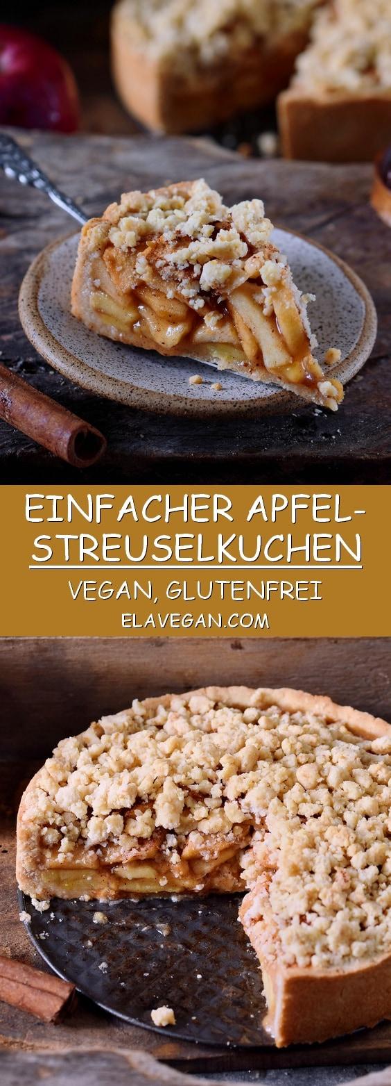 Veganer und glutenfreier Apfel-Streuselkuchen auf Pinterest Collage
