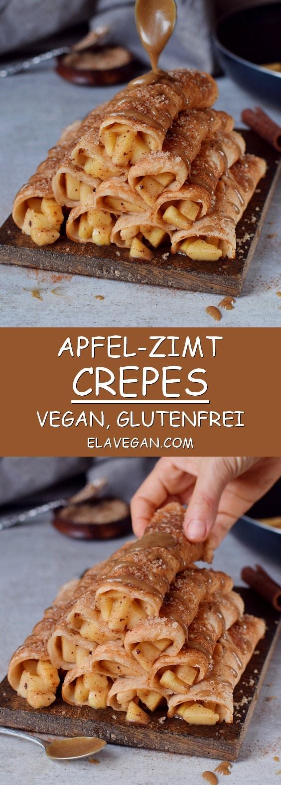 Apfel Crepes vegan glutenfrei mit Zimt und Karamellsoße Pinterest Collage
