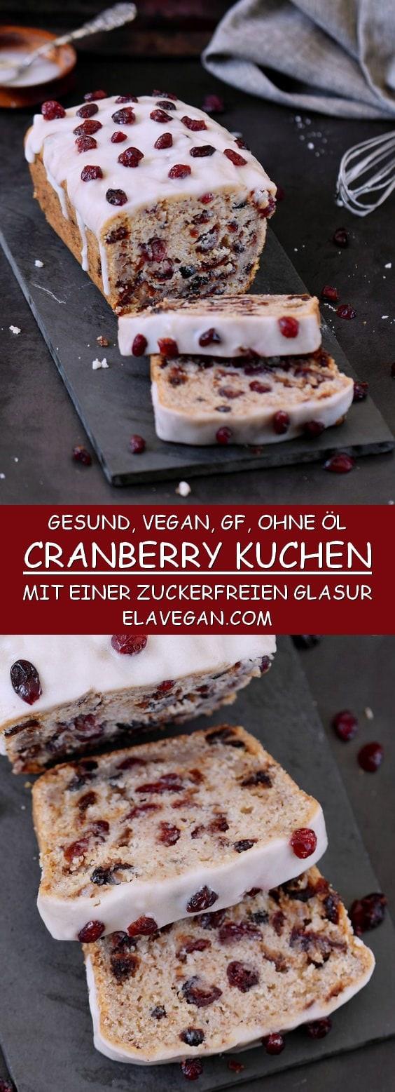 Cranberry Kuchen mit einer zuckerfreien Glasur vegan glutenfrei ohne Öl