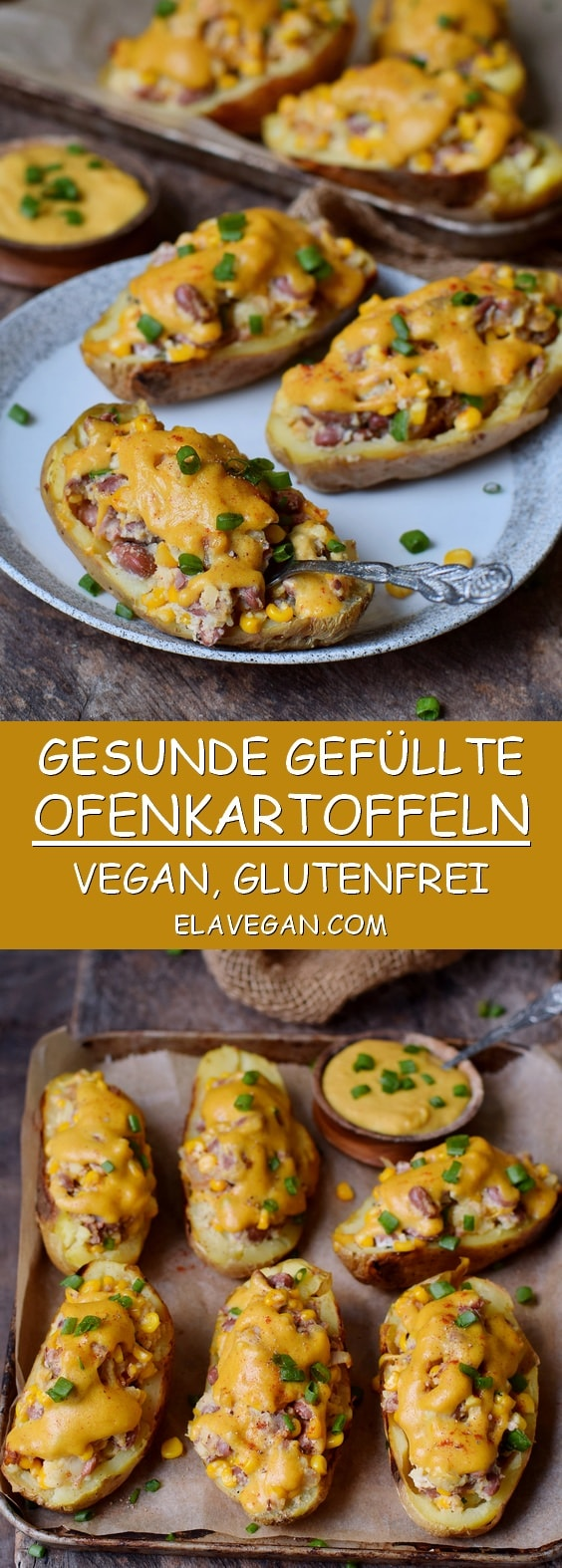 Gefüllte Ofenkartoffeln (gesund, glutenfrei, pflanzlich) mit Gemüse und veganem Käse