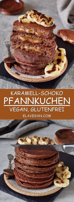 schoko-pfannkuchen mit Karamell gefüllt vegan glutenfrei