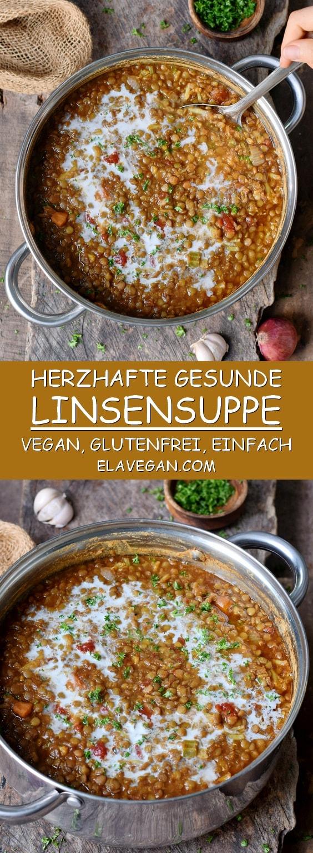 Beste gesunde Linsensuppe in einem großen Topf (vegan, glutenfrei) Pinterest Collage