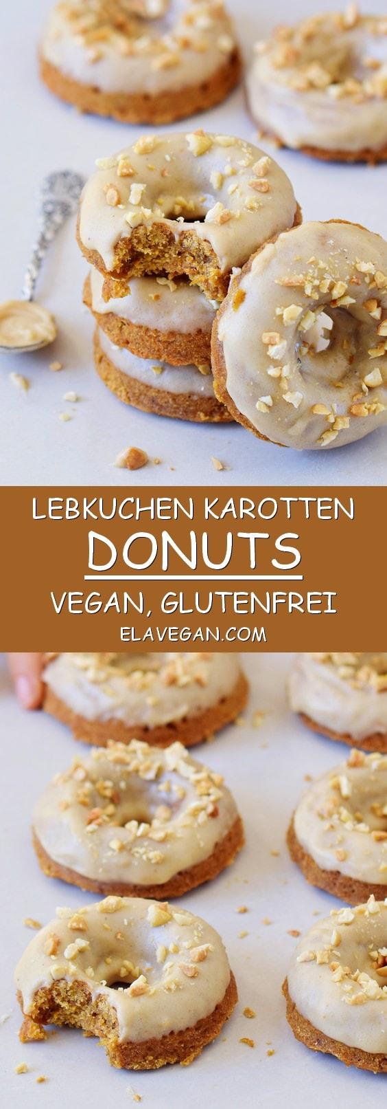 Gesunde vegane Lebkuchen Karotten Donuts mit heller Nussmus Glasur (glutenfrei)