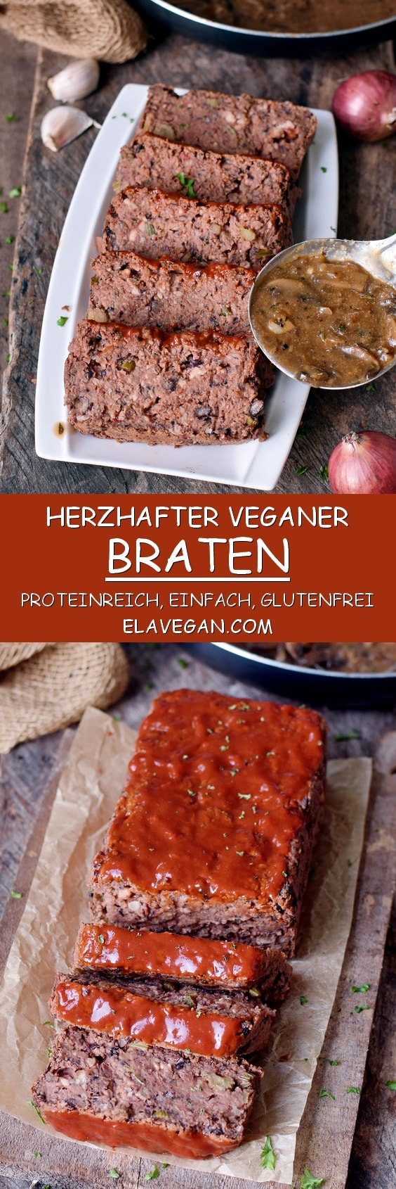 Veganer Braten (proteinreich, glutenfrei, einfach) mit Pilzsoße Pinterest Collage