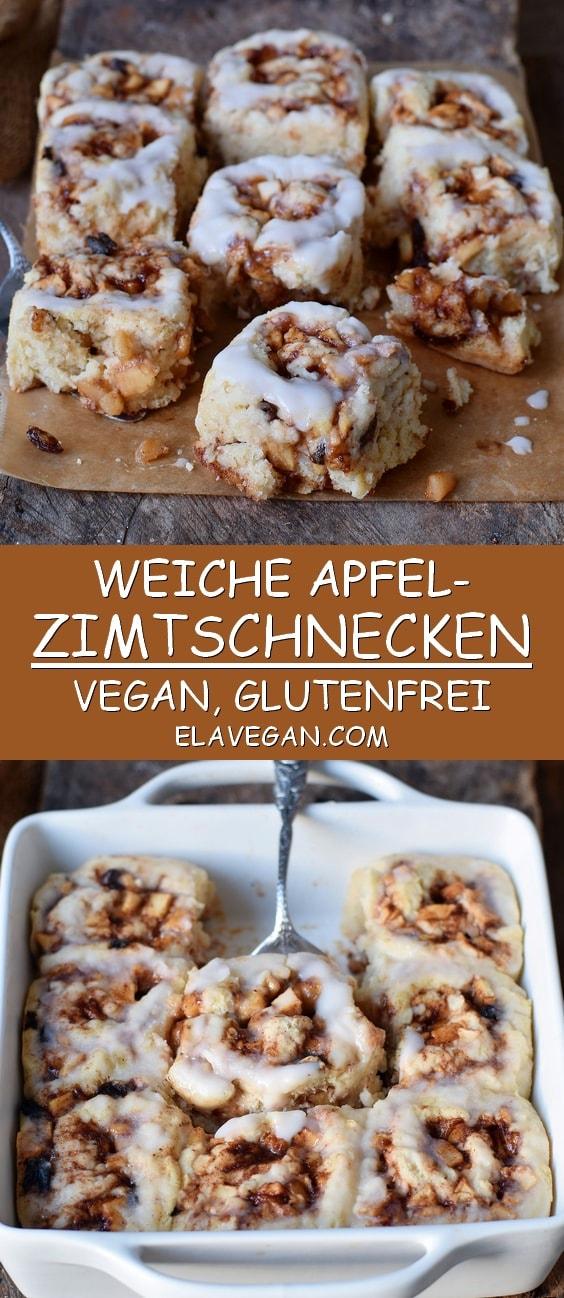weiche Apfel-Zimtschnecken vegan glutenfrei Pinterest Collage