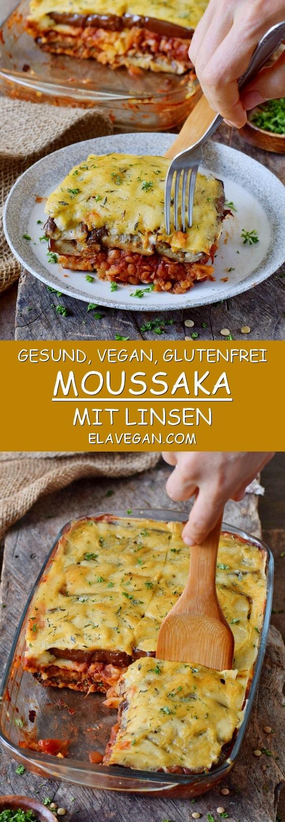 Gesund vegan glutenfrei Linsen Moussaka mit Auberginen Pinterest Collage