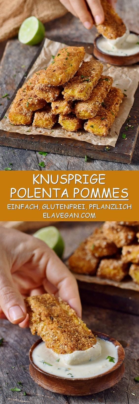 knusprige polenta pommes mit cashew knoblauch dip glutenfrei vegan rezept pinterest