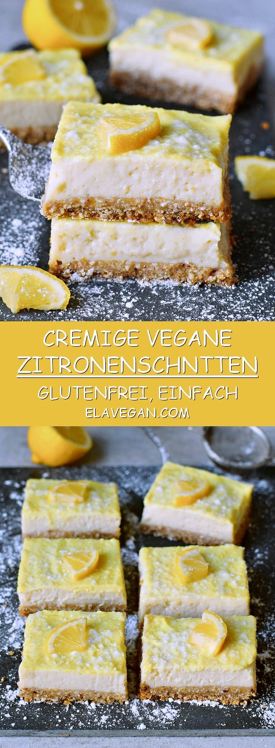 Cremige Zitronenschnitten glutenfrei einfach vegan zuckerfreies Rezept