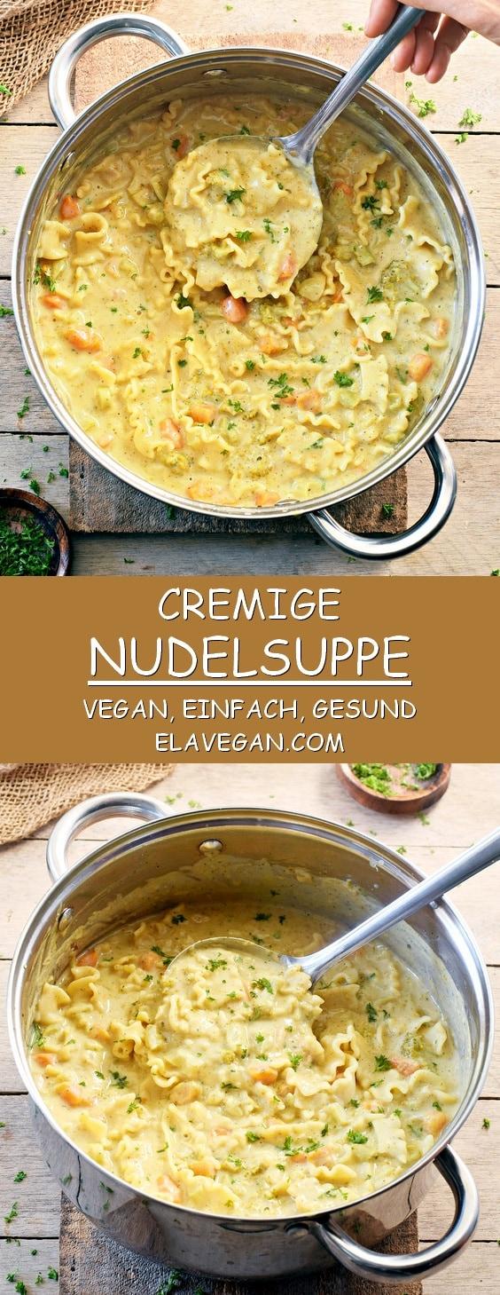 Cremige Nudelsuppe mit Cashews und Bohnen vegan gesund glutenfrei einfaches Rezept