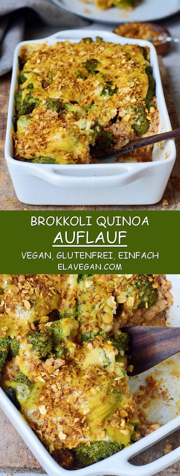 gesunder glutenfreier Brokkoli Auflauf (Gratin) mit Quinoa und veganem Käse