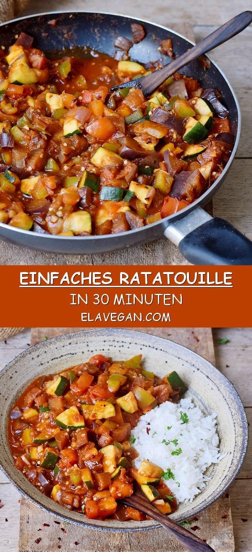 Einfaches Ratatouille Rezept in 30 Minuten vegan glutenfrei
