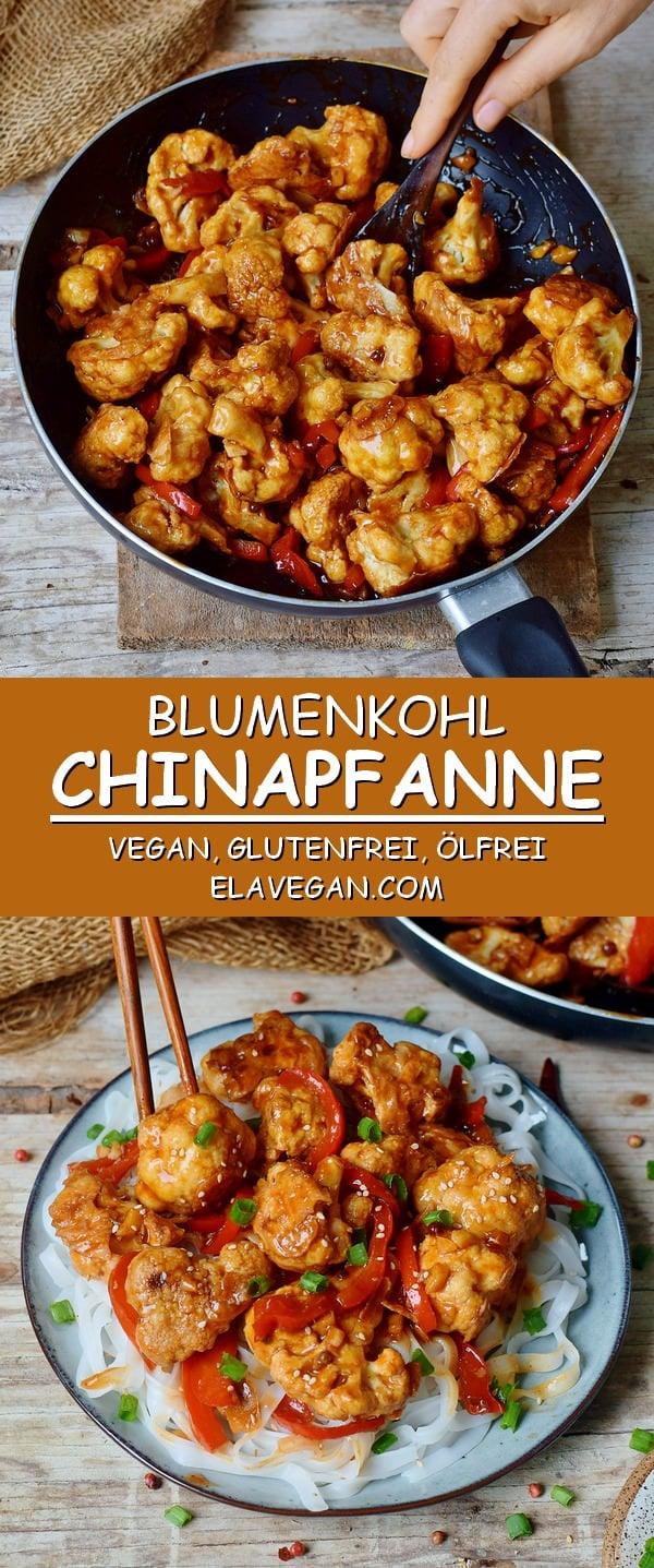 Blumenkohl Chinapfanne vegan glutenfrei ölfrei Pinterest Collage