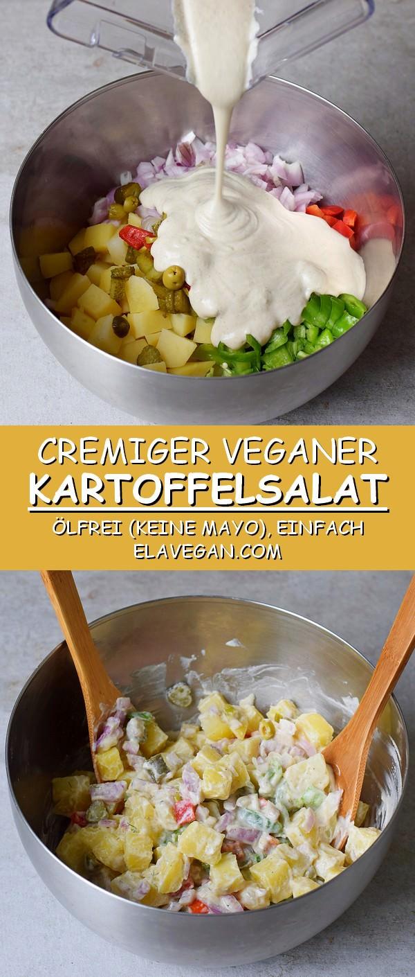Cremiger veganer Kartoffelsalat ölfrei ohne Mayonnaise einfaches Rezept