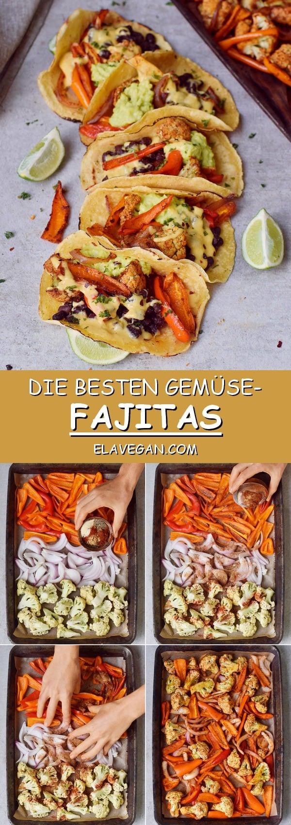 Die besten Gemüse Fajitas mit Paprikas, schwarzen Bohnen, Blumenkohl, Guacamole, veganem Käse