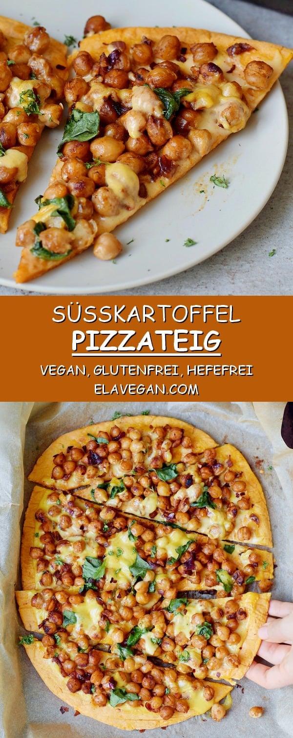 hefefreier Süßkartoffel-Pizza Teig belegt mit Kichererbsen Spinat und veganem Käse glutenfreies Rezept