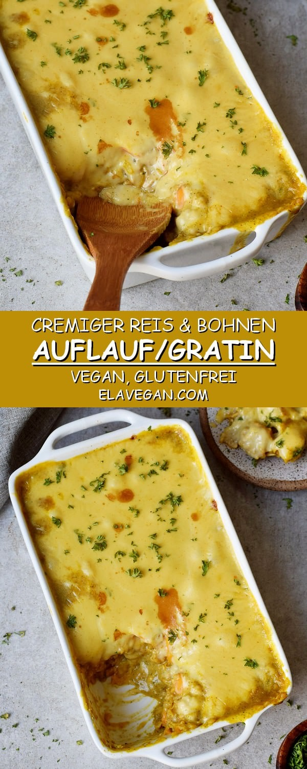 Cremiger herzhafter Reisauflauf bzw Reisgratin mit Bohnen und veganem Käse