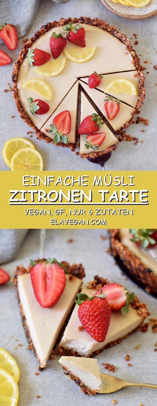 Einfache Müsli Zitronen Käsekuchen Tarte vegan glutenfrei