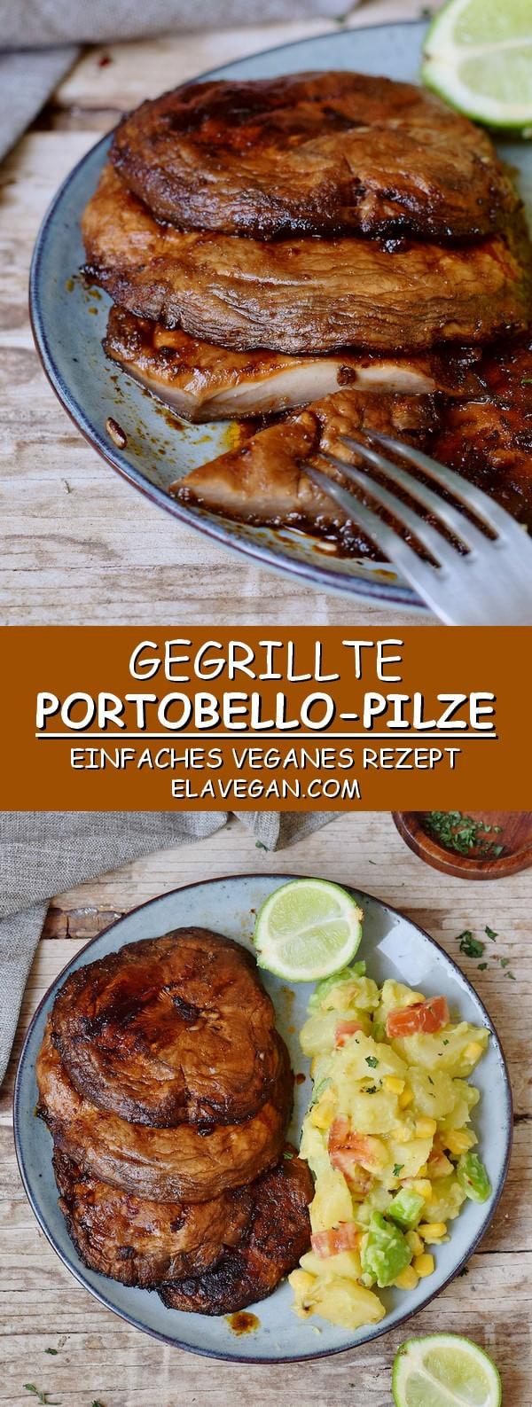 Gegrillte Portobello Pilze einfaches veganes Rezept