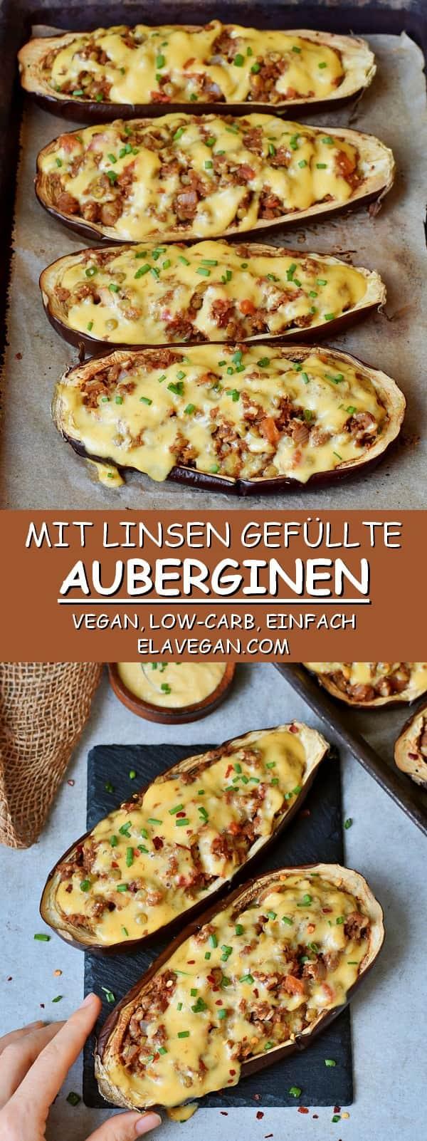 Mit Linsen gefüllte Auberginen vegan low-carb einfach