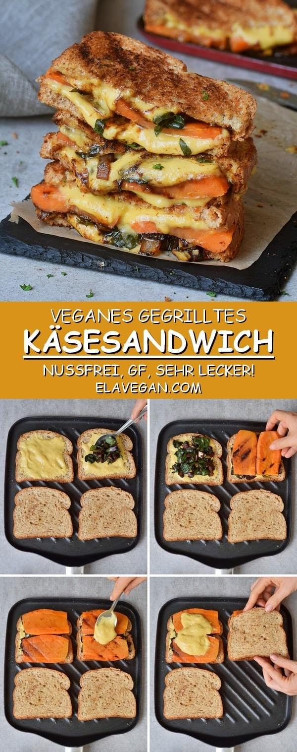 Veganes gegrilltes Käsesandwich Rezept mit Spinat und Karotte